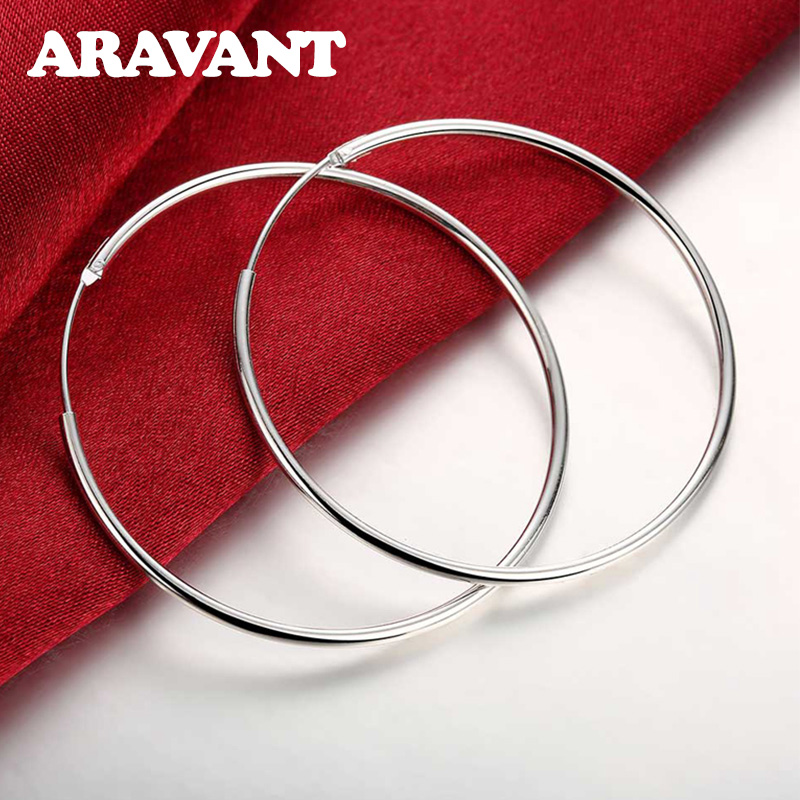 100% 925 Sterling Silver Hoop Earring For Women 50MM Big Round Circle Earrings Jewelry Gift(China)