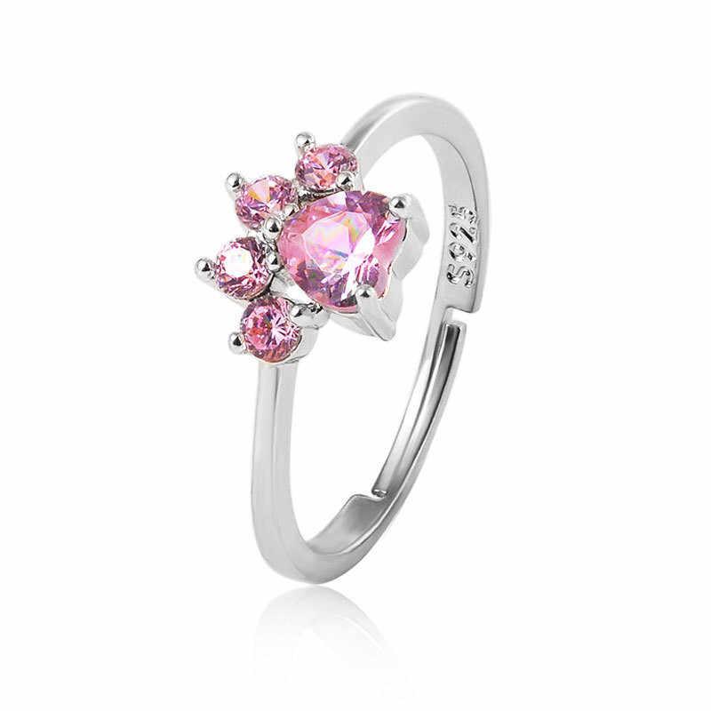 חתול Paw רוז זהב טבעות לנשים פתוח מתכוונן טבעת מצופה כסף קריסטל טבעות לנשים גבירותיי אביזרי טבעת אירוסין