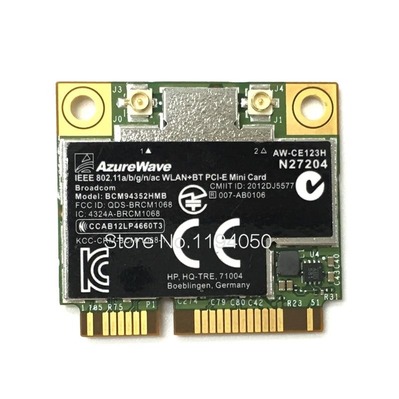 AzureWave Broadcom BCM94352HMB 802.11ac 867Mbps Wireless AC WLAN + Bluetooth BT 4.0 Semi-mini PCI-E Wireless Wifi Card AW-CE123HAzureWave Broadcom BCM94352HMB 802.11ac 867Mbps Wireless AC WLAN + Bluetooth BT 4.0 Semi-mini PCI-E Wireless Wifi Card AW-CE123H