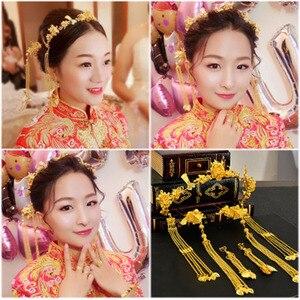 Image 5 - Truyền Thống Trung Quốc Phụ Kiện Tóc Phong Cách Vintage Trung Quốc Mũ Đội Đầu Mũ Trụ Vàng Trung Quốc Tóc Trang Sức Cô Dâu Thái Vật Trang Trí