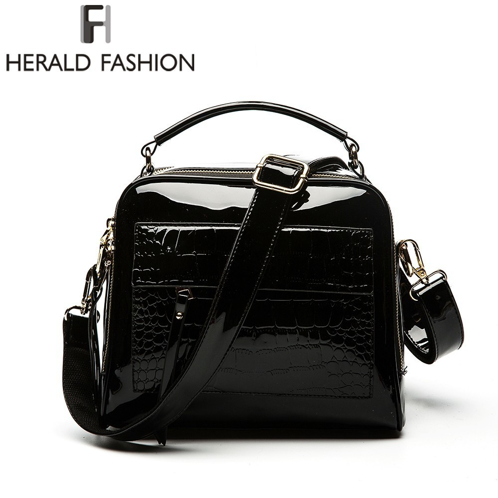 Herald Fashion Women Patent Leather Handbags Crocodile Design Shopper Tote Bag Female Luxurious Shoulder Bags plus size lace insert stripe smock dress