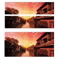 Evening Water Town Pattern Creative 3d Stickers Personalized Home Bedroom Wall Stickers Murals Decoration