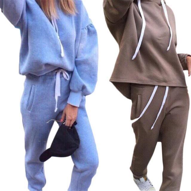 ceab0c231e52 Consultar precio 2 piezas otoño invierno deporte traje mujer ...