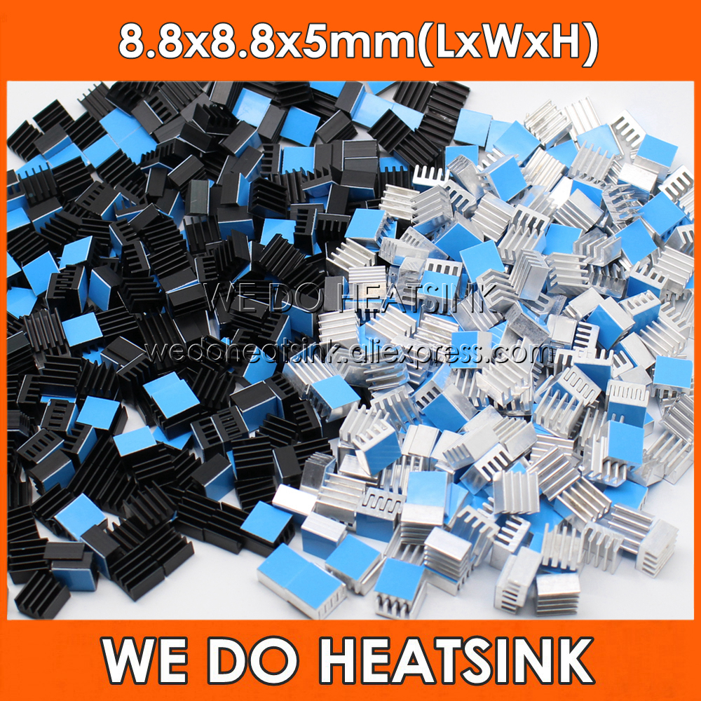 WE DO HEATSINK 10pcs 8.8*8.8*5mm Small Tiny Silver / Black Heatsink Aluminum Heat Sink Radiator Cooler With Tape AppliedWE DO HEATSINK 10pcs 8.8*8.8*5mm Small Tiny Silver / Black Heatsink Aluminum Heat Sink Radiator Cooler With Tape Applied