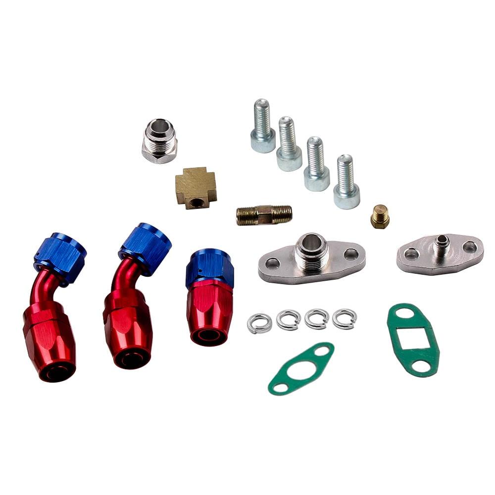 Turbocompresor GT30 GT3037 GT3076 Turbo 500bhp + líneas de alimentación de aceite de retorno de drenaje de aceite para todos los motores 6/8 cyl 3.0L 5.0L - 3