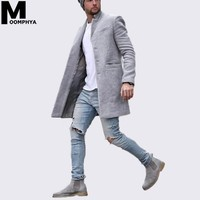 2019 New Arrived Long style men blend wool jacket men coat Streetwear stylish hip hop men jacket windbreaker overcoat