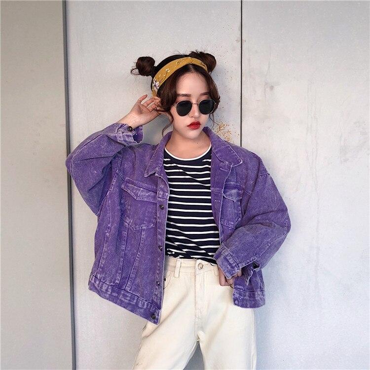 Denim Jacket Female Autumn 2019 Fashion Loose Wild Cowboy Womens Clothing Korean Bf Wind Purple Short Jackets Large Size A9124