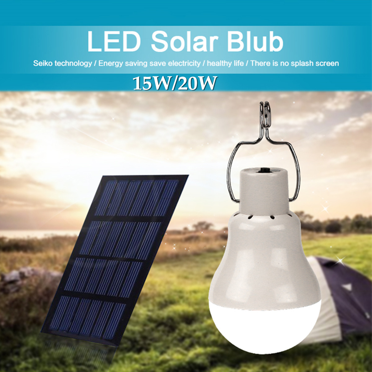Camping Solar Panel Power Portable Outdoor 15W/20W LED Bulb Light Energy Clean Saving Lamp Long Life Expectancy Rechargeable