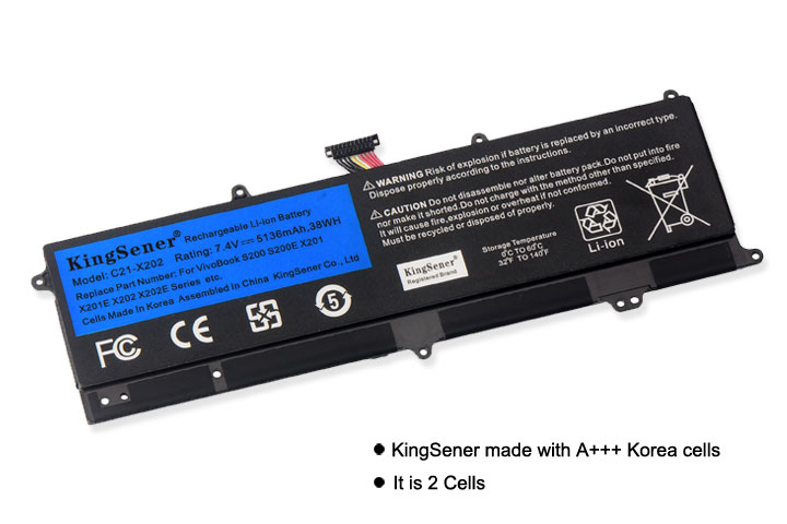 Image 2 - KingSener C21 X202 Laptop Battery for ASUS VivoBook S200 S200E X201 X201E X202 X202E S200E CT209H S200E CT182H S200E CT1 5136mAh-in Laptop Batteries from Computer & Office