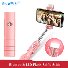 RAXFLY 2019 Mini Bluetooth Tripod Selfie Stick For iPhone Android Phone LED Flash Remote Handheld Selfie Stick Foldable Monopod