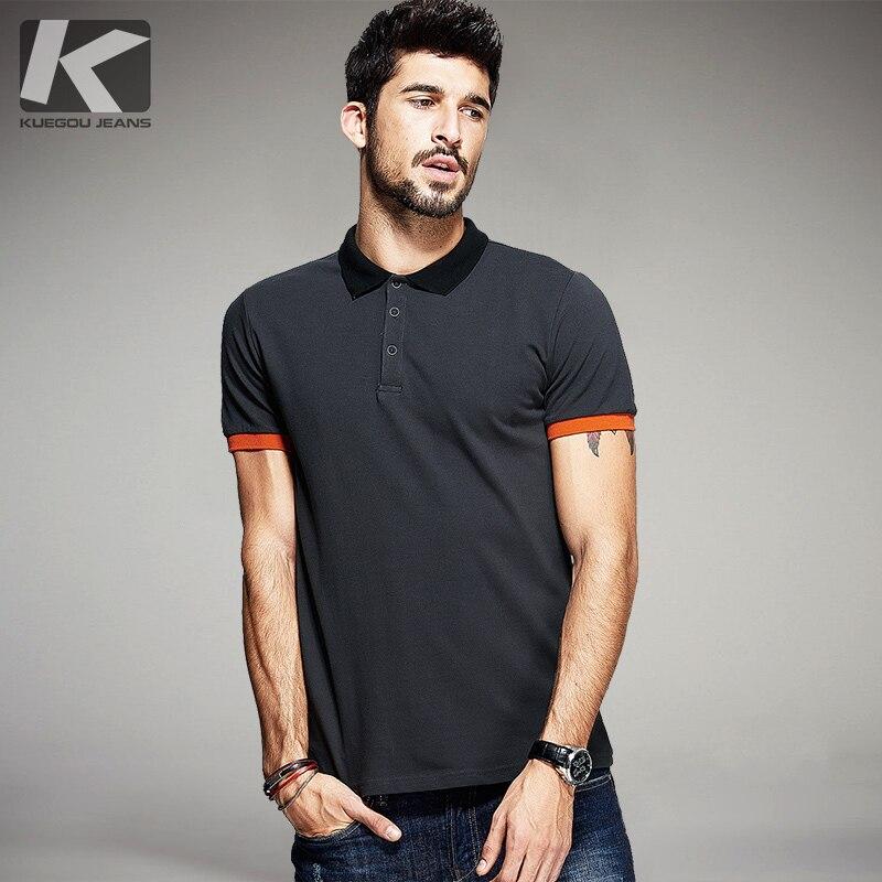 KUEGOU Summer Mens polo-särgid Patchwork Dark Grey Värv Brändi rõivad Meeste lühikeste varrukatega riided Meeste riided Slim Fit Tops 5059