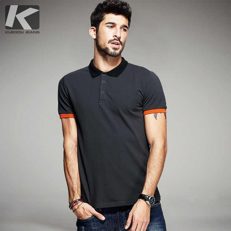 0916156e3280 KUEGOU Summer Mens Polo Shirts Patchwork Dark Grey Color Brand Clothing  Man's Short Sleeve Clothes Male