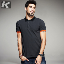 KUEGOU Summer Mens Polo Shirts Patchwork Dark Grey Color Brand Clothing Man's Short Sleeve Clothes Male Wear Slim Fit Tops 5059