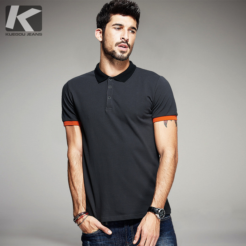 KUEGOU Summer Mens Poloshirts Patchwork Dark Grey Color Brand Clothing Man's Short Sleeve Clothes Male Wear Slim Fit Tops 5059