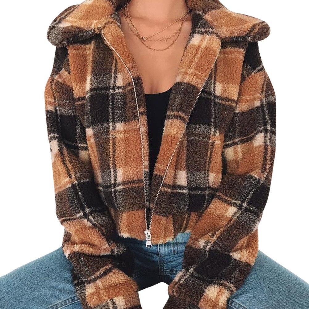 2018 Frauen Herbst Winter Faux Pelz Mäntel Zipper Plüsch Plaid Teddy Jacke Beiläufige Lange Sleeves Warme Vintage Pelzigen Mantel Outwear Angenehm Zu Schmecken