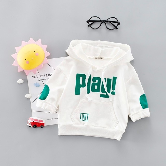 2019 New Spring Autumn Fashion Baby Clothes Infant Letter Blouse Kids Hoodies Tops Boys Girls Cotton Leisure Hooded Sweatshirts