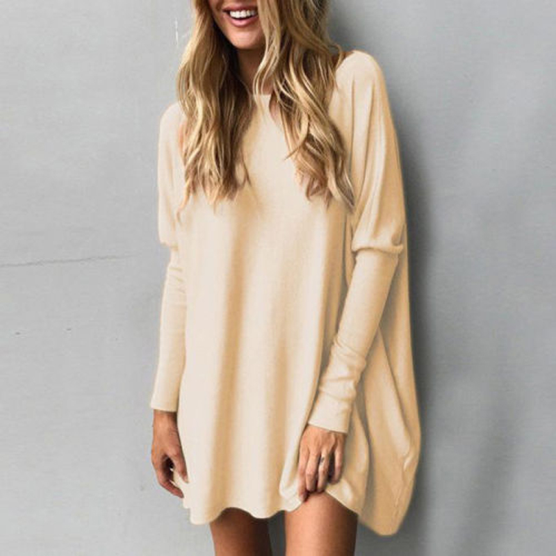533d75382cd 2018 Brand New Women Baggy Loose Fit Batwing Sleeve Tunic Solid Cotton  Casual Top Long Sleeve O-Neck T-shirt