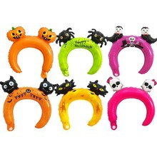 100pcs Happy Halloween Party Decoration Childrens Day Headwear bats Pumpkin Balloon Headband Giraffe Squirrel Ballon