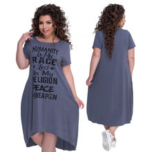 L-6XL Plus Size Women Irregular Dresses Letters Printed Dress Short Sleeve Big Size Summer Ladies Casual Loose Mid Dress chicever knitted irregular summer dress female short sleeve perspective hit colors loose big size black dresses for women new