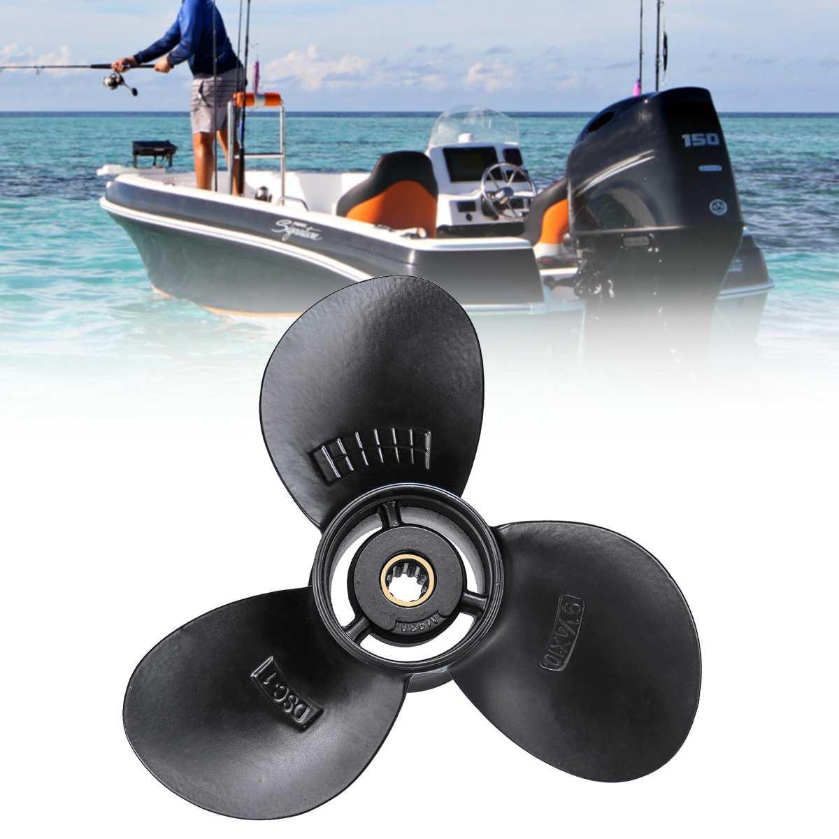 Elica fuoribordo 58100-93733-019 In Lega di Alluminio Per Suzuki 8-20HP 9 1/4x10 Barca Nero 3 Lame 10 Spline Tooths R Rotazione