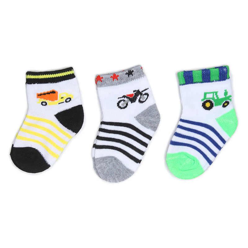 3 Pair/Lot Lovely Spring Autumn Infant Girls Boys Soft Striped Car New Children Newborn Sock Stuff Infant Baby Kids Socks