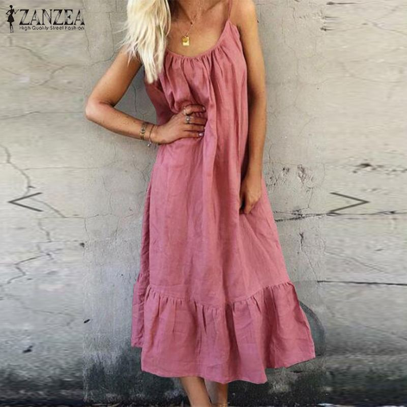 2020 ZANZEA Women's Spaghetti Strap Sundress Summer Ruffles Dress Casual Female Cotton Linen Maxi Dress Robe Femme Beach Dresses