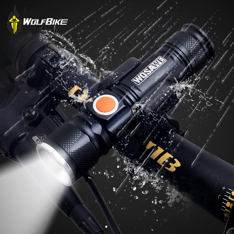 WOSAWE Kerékpározás MINI villanymotoros kerékpáros lámpák T6 LED 2000 lumen lámpás gyöngyök hordozható vízálló három üzemmód világít