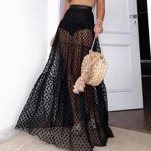 Summer Sexy Polka Dot Beachwear Woman Long Skirt Transparent Mesh See Through Black White Maxi Pleated High Waist Female