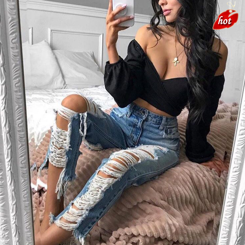 2018 Casual Long   Jeans   Women High Waist Skinny Pencil Blue Denim Pants Ripped Hole Skinny Slim   Jeans   Women Plus Size O8R2