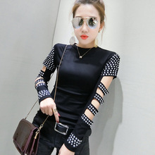 #3703 Black Hollow Out Long Sleeve T Shirt Women 2019 Rivet Punk Rock T-shirt Streetwear Tops Fashion Femme Slim