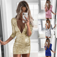 2019 Prom Sexy Sequin Dress Short Silver Dresses Women Glod Club Mini Long Sleeve Bodycon