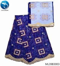 LIULANZHI african bazin riche getzner fabric soft embroidery blue lace brocade cotton 7yards per lot ML39B30
