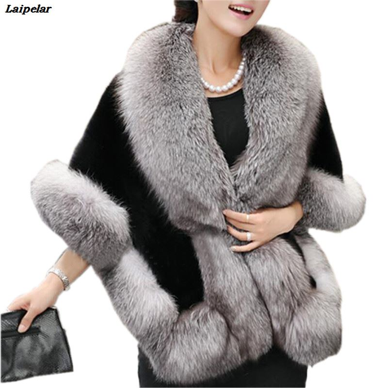 Laipelar Luxury Brand Winter Womens Ladies Faux Mink Cashmere Wedding Autumn Long Fur Coat Shawl Cape Fox Fux