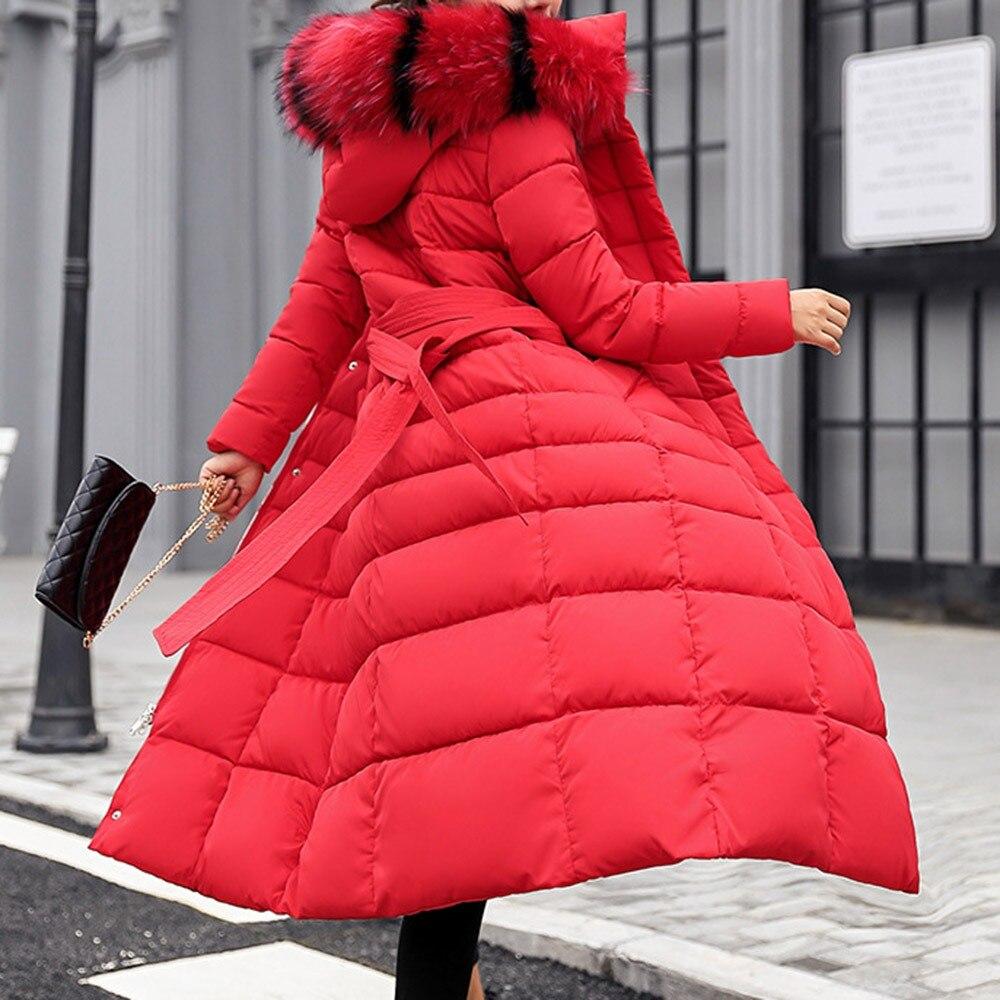 Длинная парка зимнее пальто для женщин теплый искуственный мех воротник с капюшоном 2018 Корейский Новый Hipster белый Лидер продаж тонкий черны...