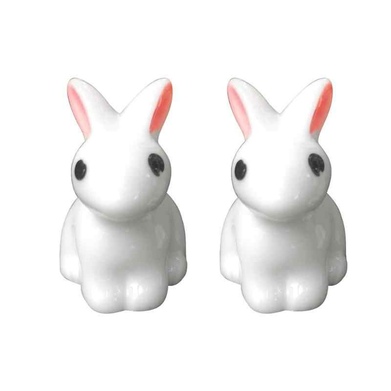 Cute Mini Rabbit Garden Ornament Miniature Figurine Plant Pot Fairy Cute Synthetic Resin Hand-painted Rabbit Decoration Crafts