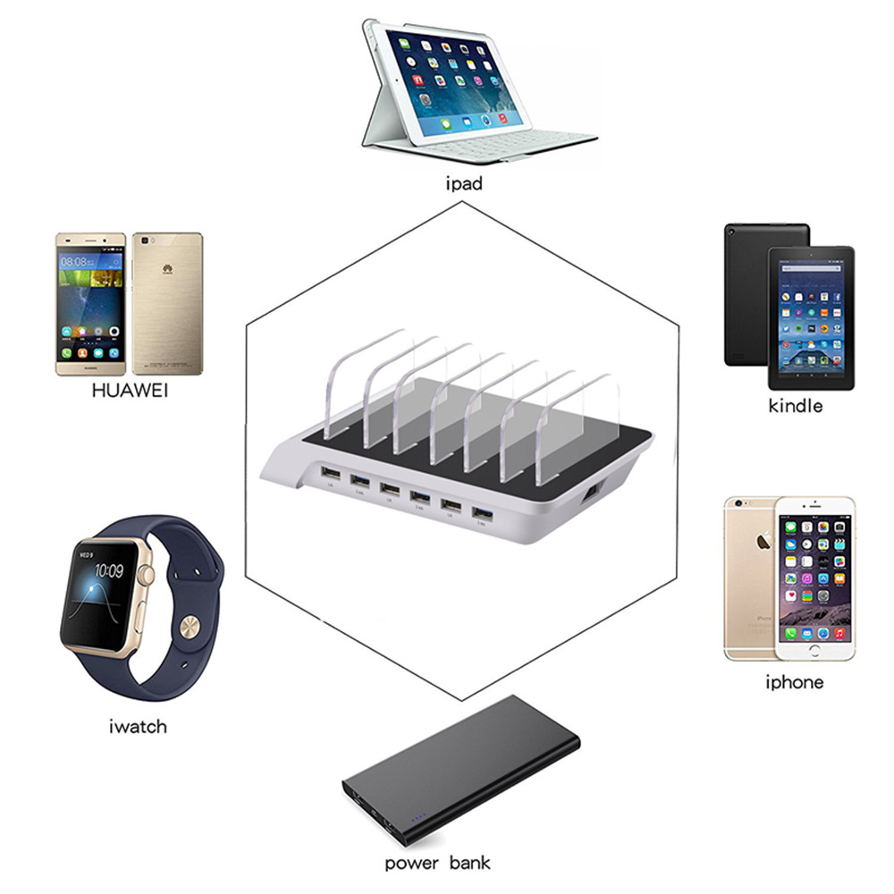 USB Charging station 6 Port  with 6 cables 5V10.2A  Universal USB Charger Station Stand Holder Desktop Charger for Mobile Phone