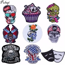 Pulaqi Hot Punk Biker Patches Embroidery Badge Sew On Iron-on Garment Decor For T - Shirt Jeans Skull Patch Accessories H
