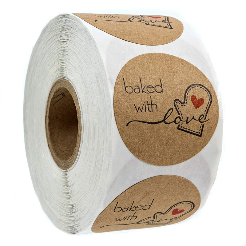 1 Inch Round Natural Kraft Baked With Love Stickers / 500 Labels Per Rol