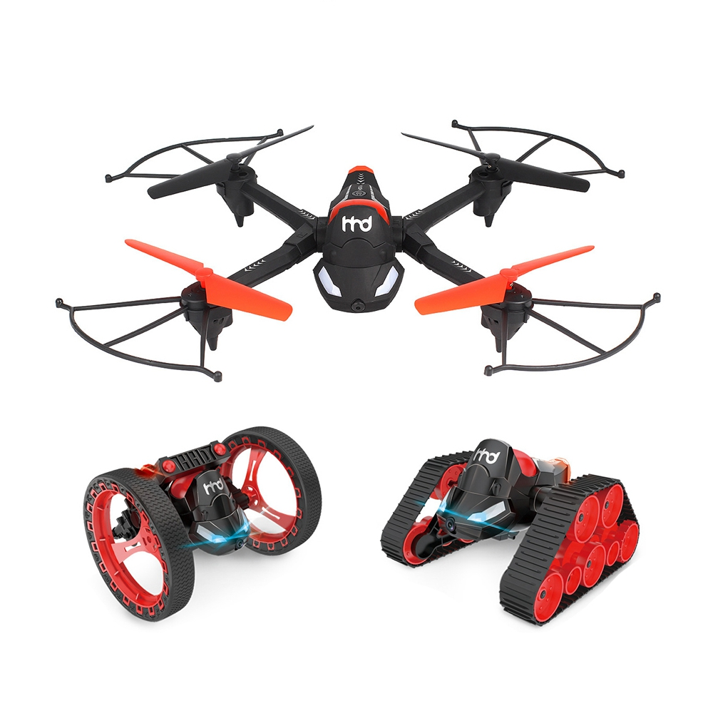 H3 Fpv Wifi Camera 3 In 1 Rc Tank Bounce Car With Quadcopter Drones For Kids