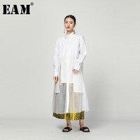 [EAM] 2019 New Autumn Winter Lapel Long Sleeve White Hem Mesh Irregular Spliced Perspective Shirt Women Blouse Fashion Tide1C003