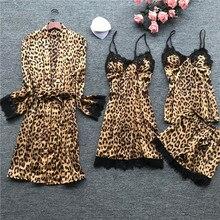 Lisacmvpnel 4 Pcs Leopard Sexy Lace Women Robe Set Cardigan+Nightdress+Shorts Set Fashion Sleepwear