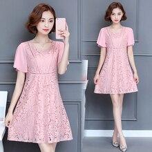 5XL Vintage Lace Dress Women 2019 New Summer Dresses Short Sleeve O-neck Loose Women Dress Plus Size Teenage Dress School Cute цена