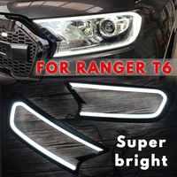 2019 NEW Update Design Black HeadLight LED Cover Trim ABS Lamp Hood For FORD For RANGER T6 WILDTRAK 2015 2016 2017 2018