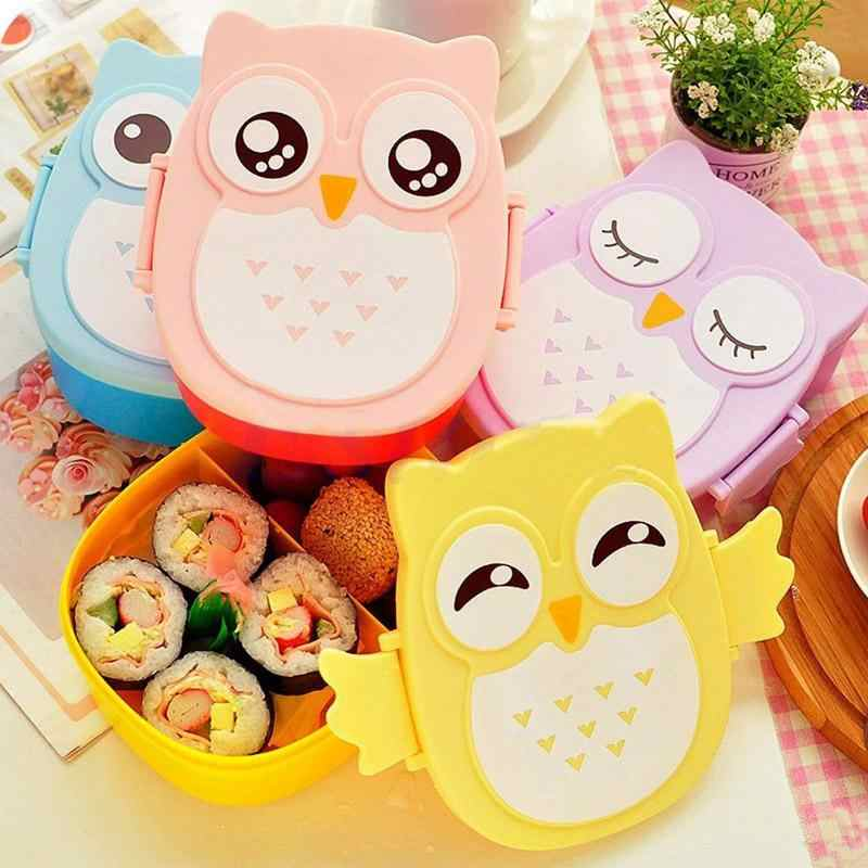 900ML Portable Cartoon Owl School Lunch Box With Spoon Kids Food Fruit Storage Container Christmas Picnic Microwavable Home Use