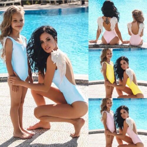 c4135d027fd9b 2019 Family Match Wing Swimwear Mother Daughter High Waist Swimsuit Women  Kid Girl Bathing Suit Monokini