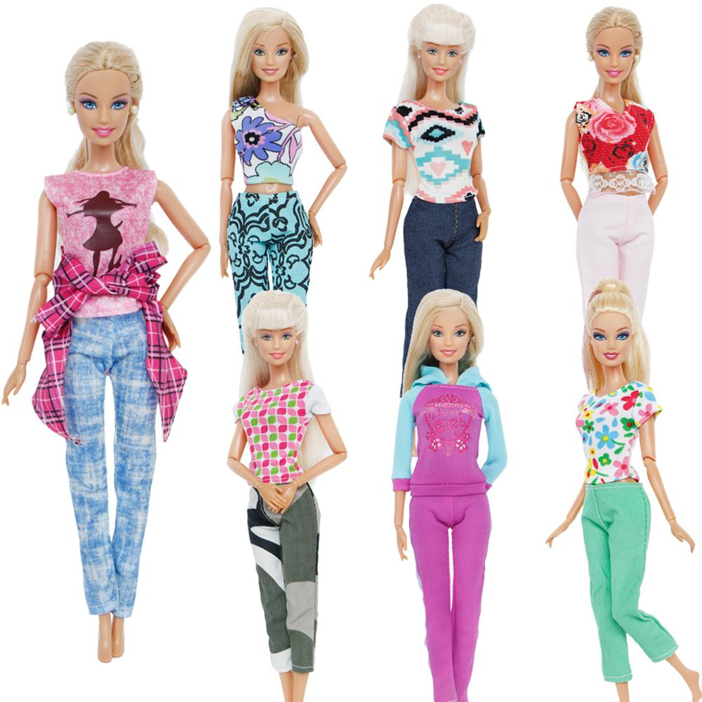 Handmade Fashion Outfit Daily Casual Wear Pants Trousers Mixed Style T-Shirt Sexy Tops Clothes For Barbie Doll Accessories Toys nk one set casual wear t shirt trousers summer outfit short pants ken clothes for barbie ken doll accessories wholesale