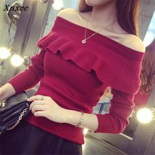 Autumn Slim Women Thin Sweaters Korean New Fashion Sexy Slash neck Ruffles Knitwear Long Sleeve Solid Pullover Tops 62652 Xnxee