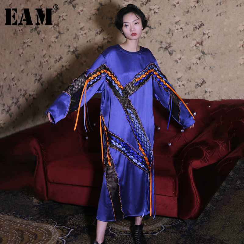EAM 2019 New Spring Summer Round Neck Long Sleeve Knitted Hollow Out Ribbon Perspective Dress