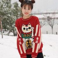Japanese Lucky Cat Pattern Women Sweater Cute Kawaii Pullover Loose Red Sweater Female Autumn Winter Outwear Harajuku