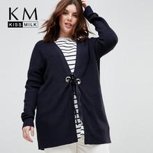 Kissmilk Plus Size Simple and versatile loose Cardigan round hole straps ridge line woven sweater